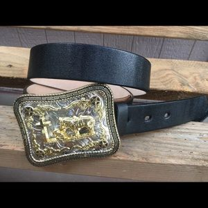 "34/""  Silver and Brown Men/'s Leather Belt Canyon Outback Western Fancy 42/"""